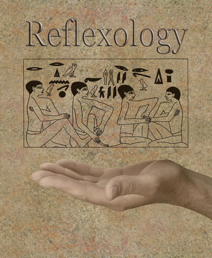 Reflexology depicted in Ancient Egyptian Hieroglyphics royalty free stock photos
