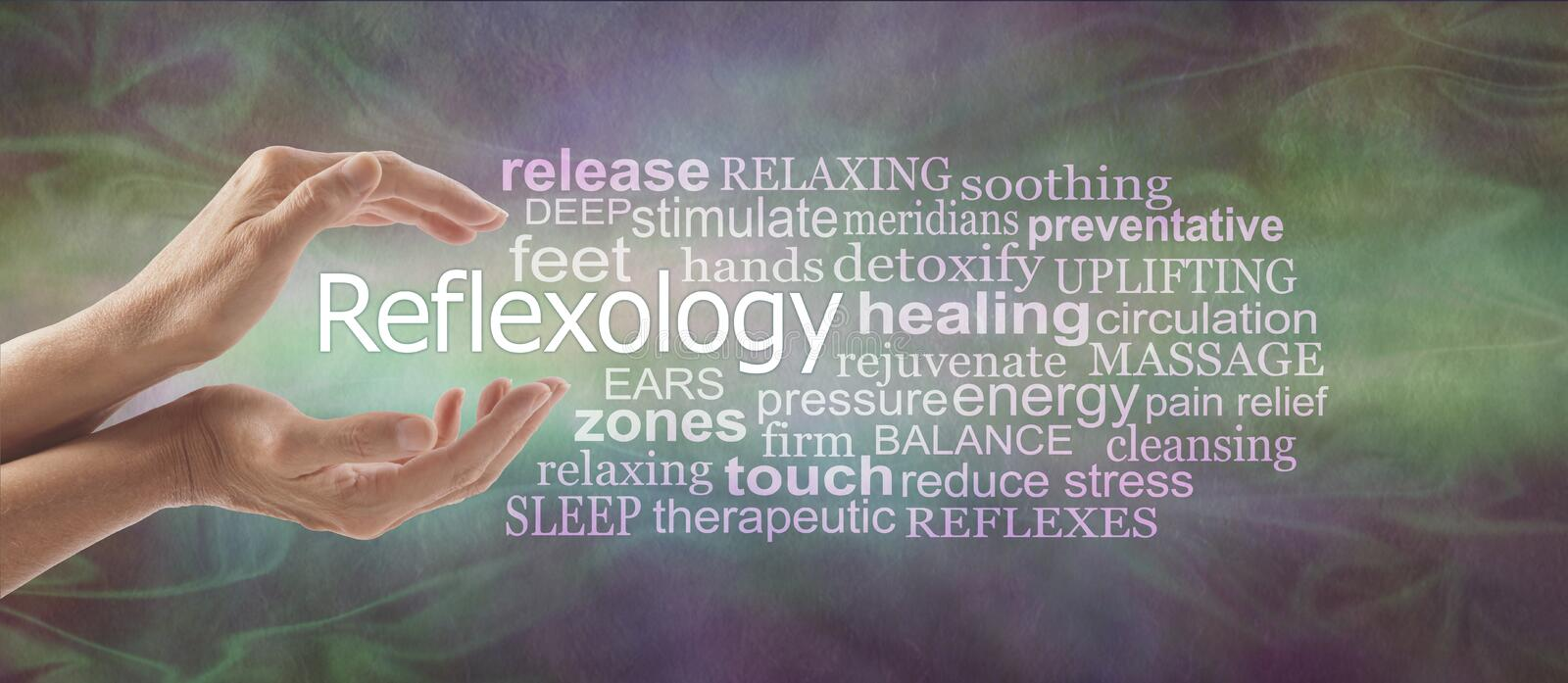 Reflexology Descriptive Word Tag Cloud Banner. Female cupped hands with the word REFLEXOLOGY floating between surrounded by a relevant word tag cloud on a rustic stock images