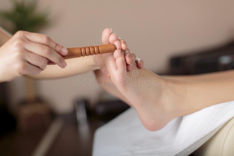 Reflexology foot massage. Close view at reflexology foot massage stock image