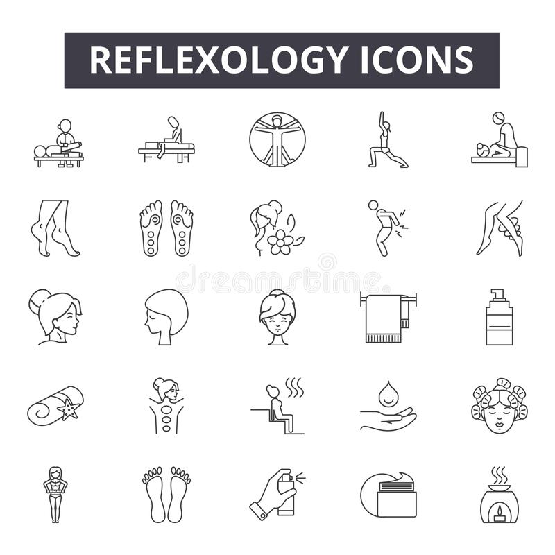 Reflexology line icons, signs, vector set, linear concept, outline illustration stock illustration