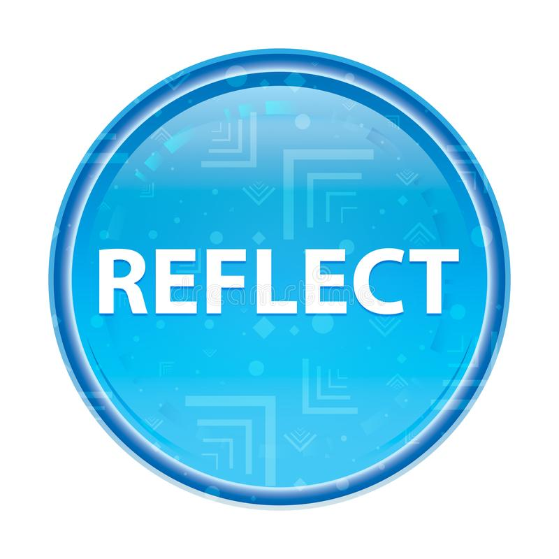 Reflita o botão redondo azul floral ilustração do vetor