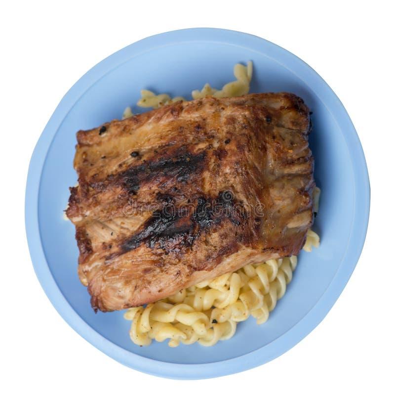 Reforços de carne de porco grelhados com massa reforços de carne de porco grelhados em uma placa isolada na opinião superior do f fotografia de stock royalty free