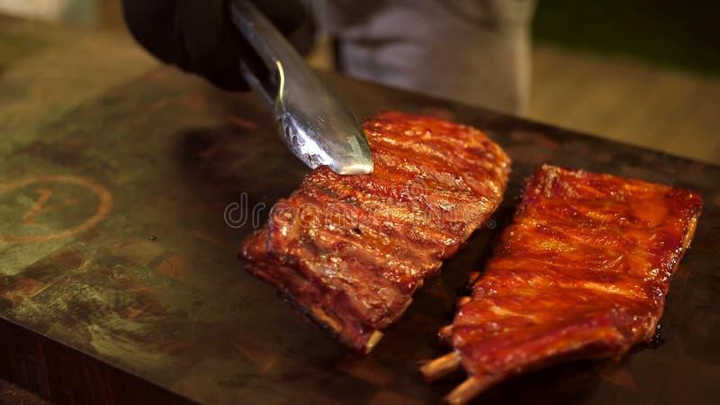 Refor?os de carne de porco fumados imagem de stock royalty free