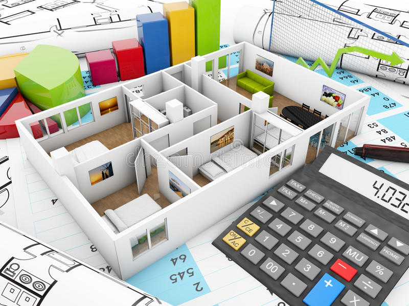 Reform accounting. Concept: house structure, graphics and calculator over accounting documents and plots stock illustration
