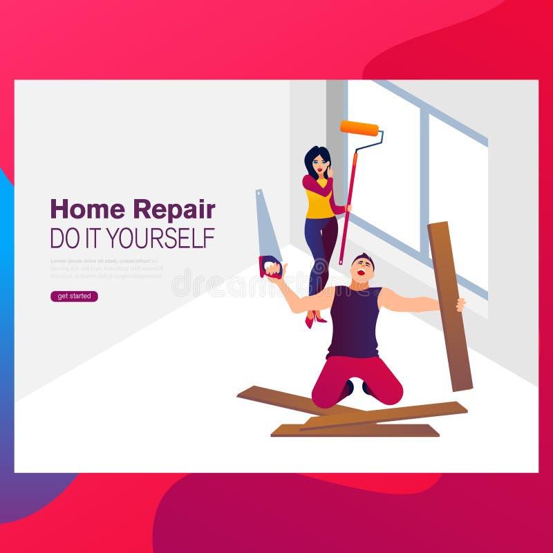 Reforma e renovação home: pares felizes novos que pintam seus interiores da casa nova usando rolos de pintura ilustração royalty free