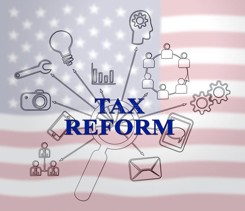 Reforma fiscal do trunfo para mudar o sistema fiscal em América - 2d ilustração ilustração royalty free