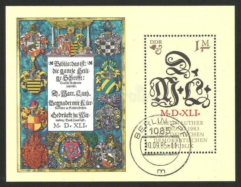 Reformador Martin Luther e iniciales stock de ilustración