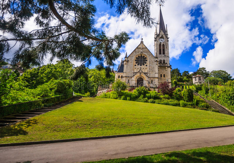Reformed church of Pasquart eglise reformee du Pasquart in Biel/Bienne, Berne, Switzerland, Europe.  stock photos