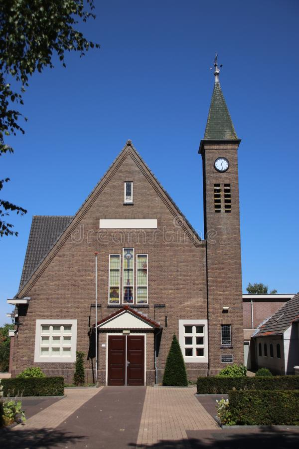 Reformed church on the strict religious village of Oldebroek on the Veluwe in the Netherlands. stock photography