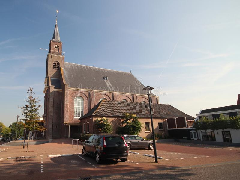 Reformed church in the town center of Moerkapelle, small village in South-Holland stock photography