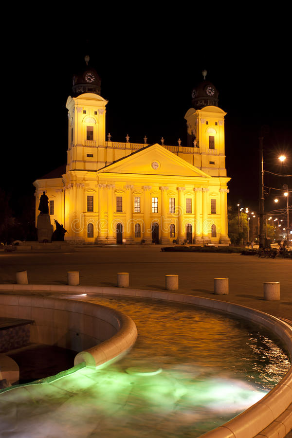 Reformed Great Church in night Debrecen, Hungary royalty free stock photo
