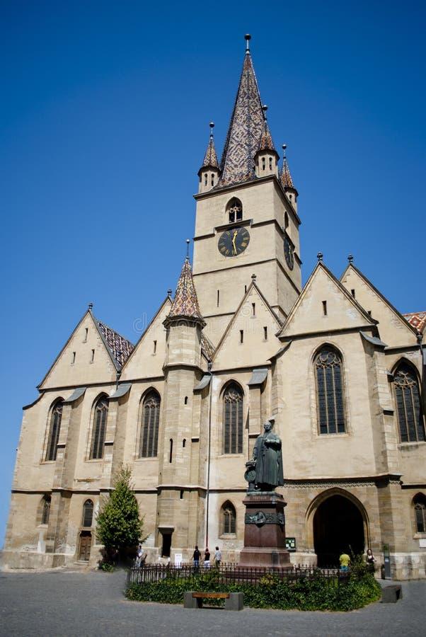 Reformowana katedra, Sibiu Europejski kapitał kultura 2007, Rumunia fotografia royalty free