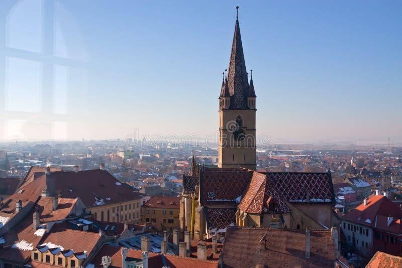 Reformowany kościelny wierza w Sibiu fotografia stock