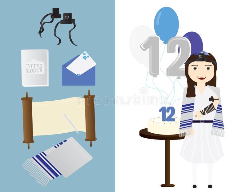 Download Reformuje Żydowskiej Dziewczyny Z Tradycyjnymi Nietoperza Mitzvah Elementami Ilustracja Wektor - Ilustracja złożonej z nietoperz, rytuał: 106906439