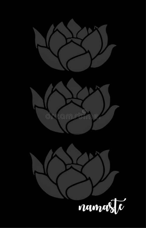 Refrán atento: Namaste con Lotus Flowers foto de archivo libre de regalías