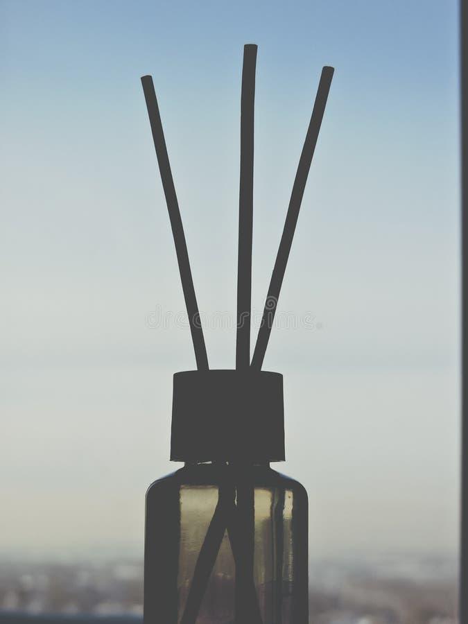 Refra?chissant de Reed, fin  Liquide d'arome dans la bouteille en verre avec les b?tons tubulaires Foyer s?lectif d?cor B?tons de photo libre de droits