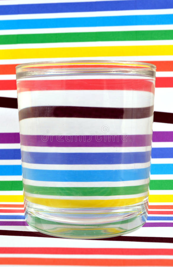 Refraction of the lightin a glass stock photography