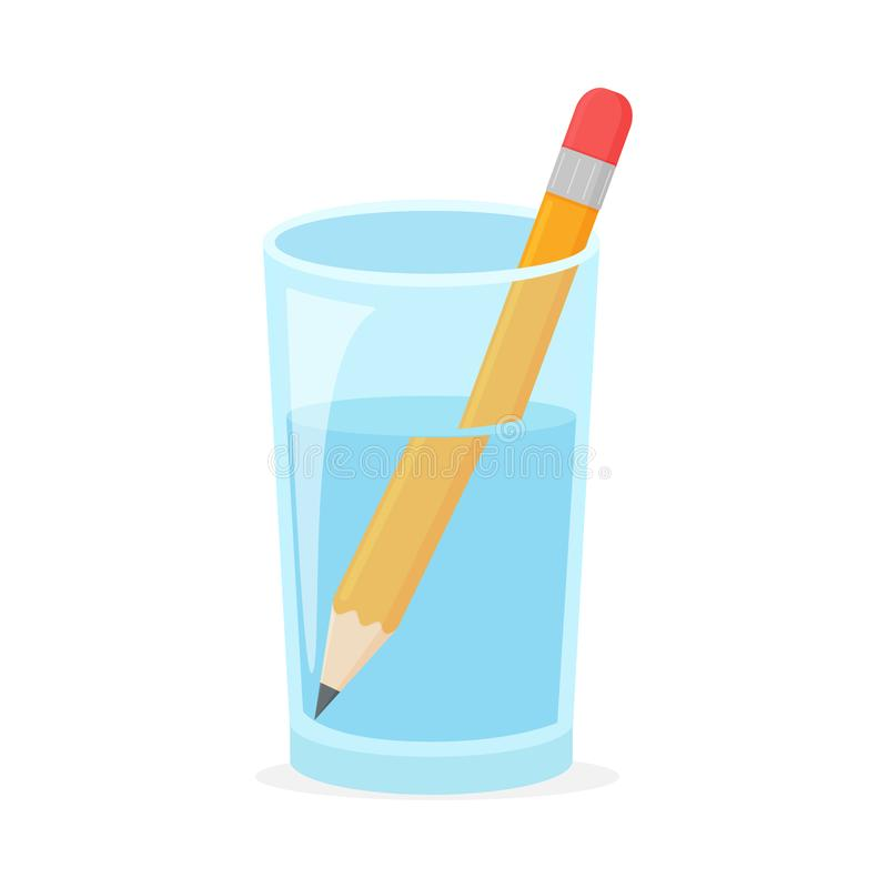 Free Refraction. Wooden Pencil In A Glass Of Water Refraction Caused The Pencil In The Glass Is Large Royalty Free Stock Image - 163824366