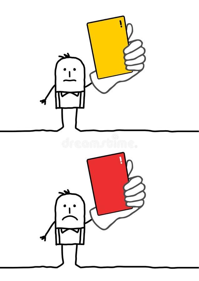 Refree con le schede rosse & gialle illustrazione di stock