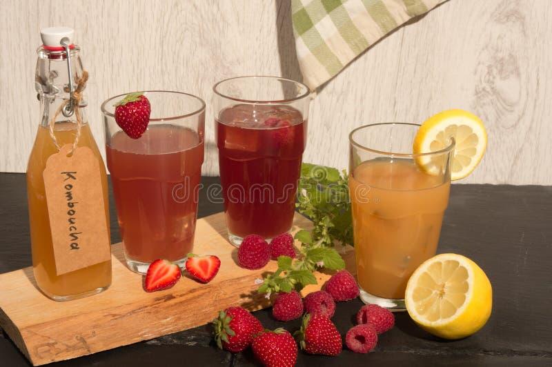 Refreschment mit Saftgetränk und -eis stockbild