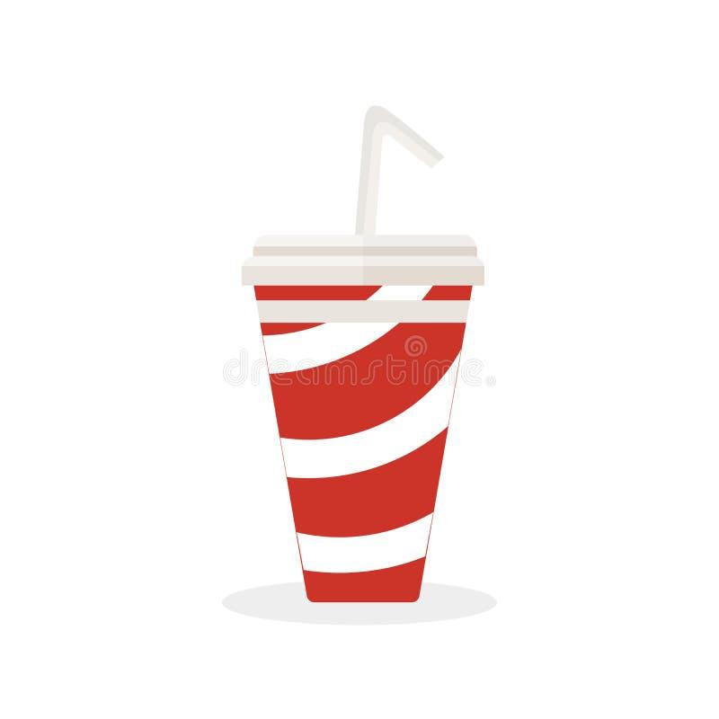 Refresco com uma palha a beber Água gasosa fria deliciosa Fast food Vetor, ilustração no branco ilustração royalty free