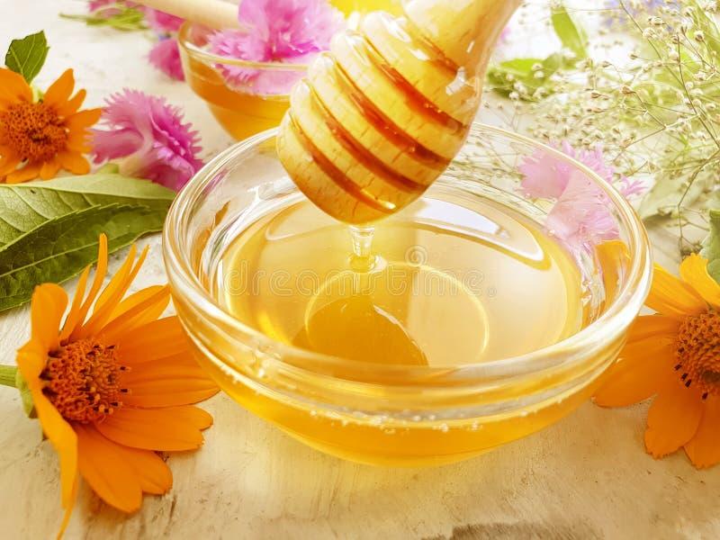 Refresco fresco de la flor de la miel delicioso en el postre concreto gris del fondo fotos de archivo