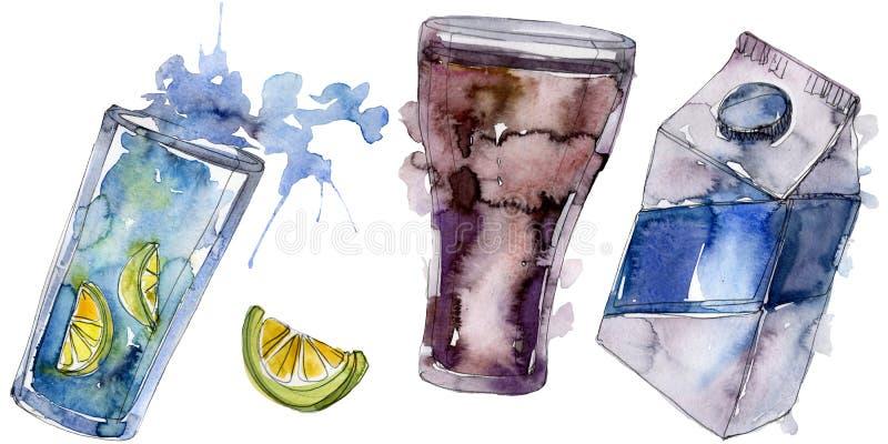 Refrescos frescos y fríos Sistema del ejemplo del fondo de la acuarela Elemento aislado del ejemplo de la bebida imagen de archivo libre de regalías