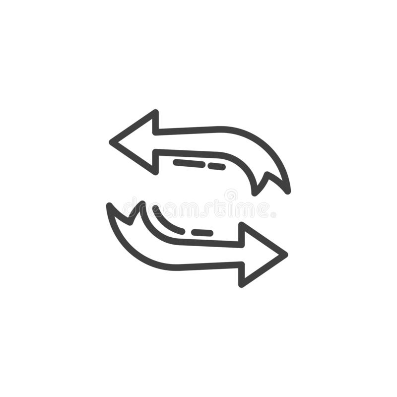 Refresh arrows line icon. Linear style sign for mobile concept and web design. Exchange, transfer arrows outline vector icon. Symbol, logo illustration. Vector stock illustration