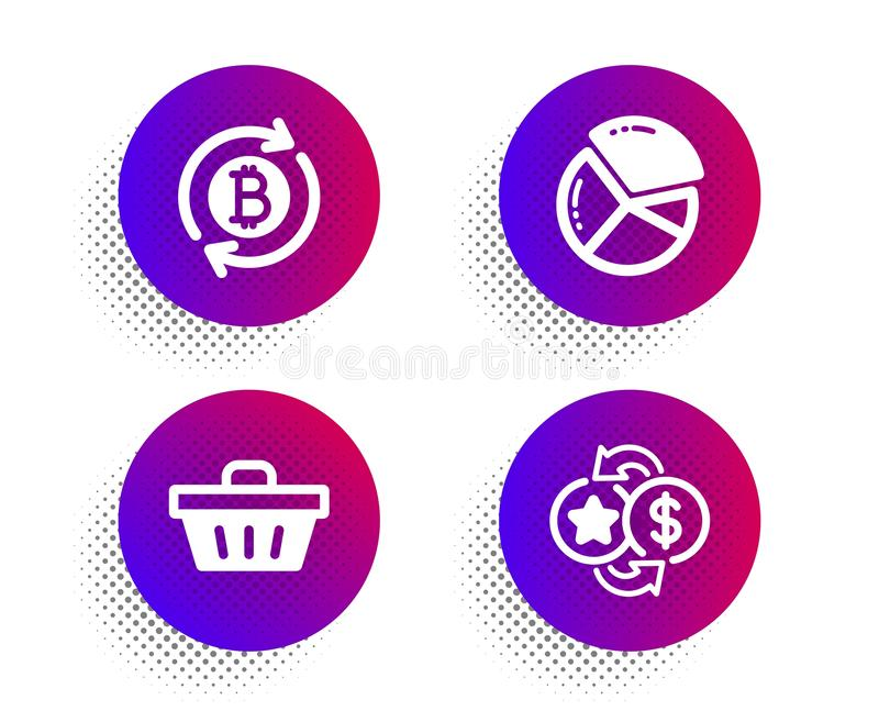 Refresh bitcoin, Shopping basket and Pie chart icons set 积分符号 矢量 向量例证