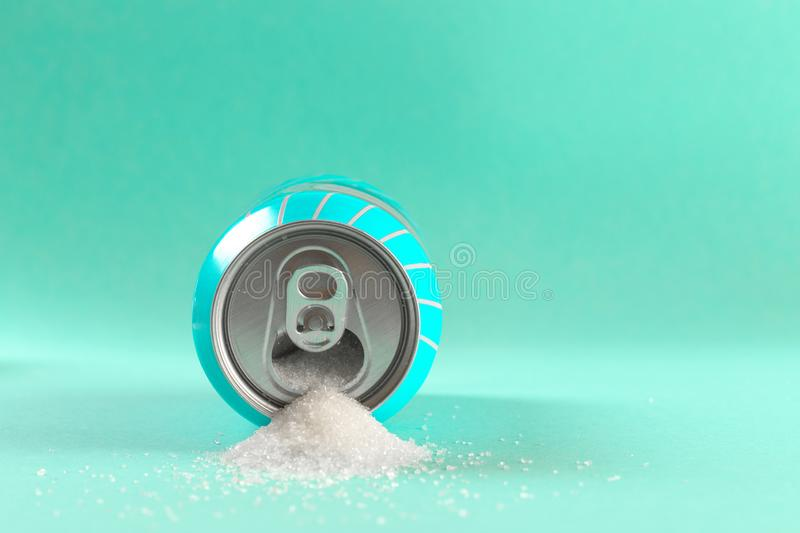 Refresh drink can pouring sugar stream in sweet and calories content of soda and energy drinks concept in unhealthy nutrition and. Diet concept stock photos