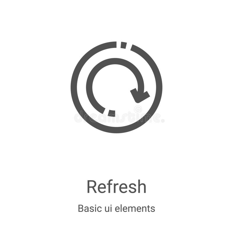 Free Refresh Icon Vector From Basic Ui Elements Collection. Thin Line Refresh Outline Icon Vector Illustration. Linear Symbol For Use Stock Photography - 166036592