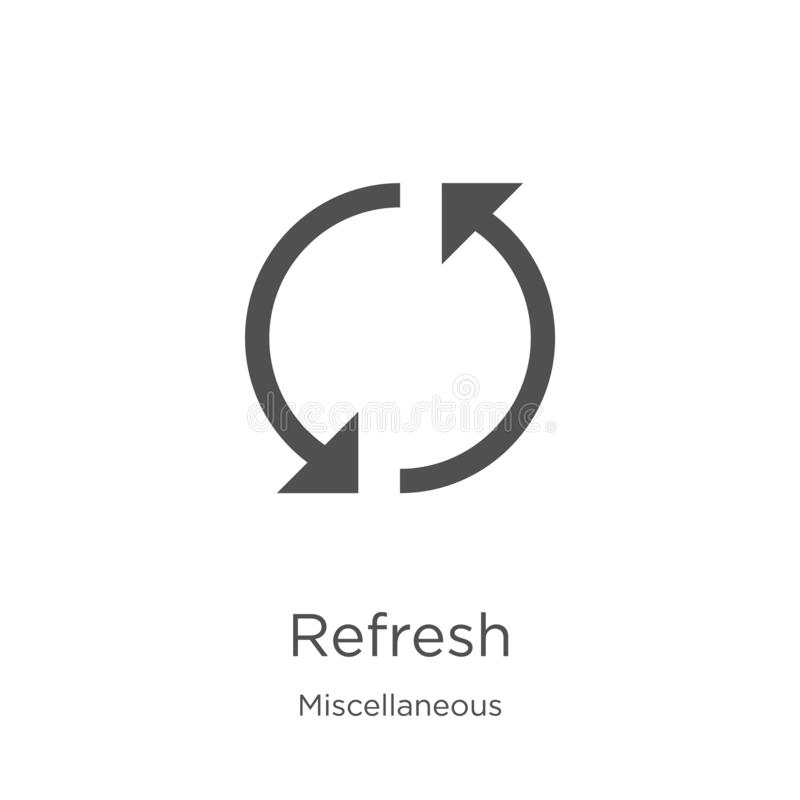 refresh icon vector from miscellaneous collection. Thin line refresh outline icon vector illustration. Outline, thin line refresh stock illustration