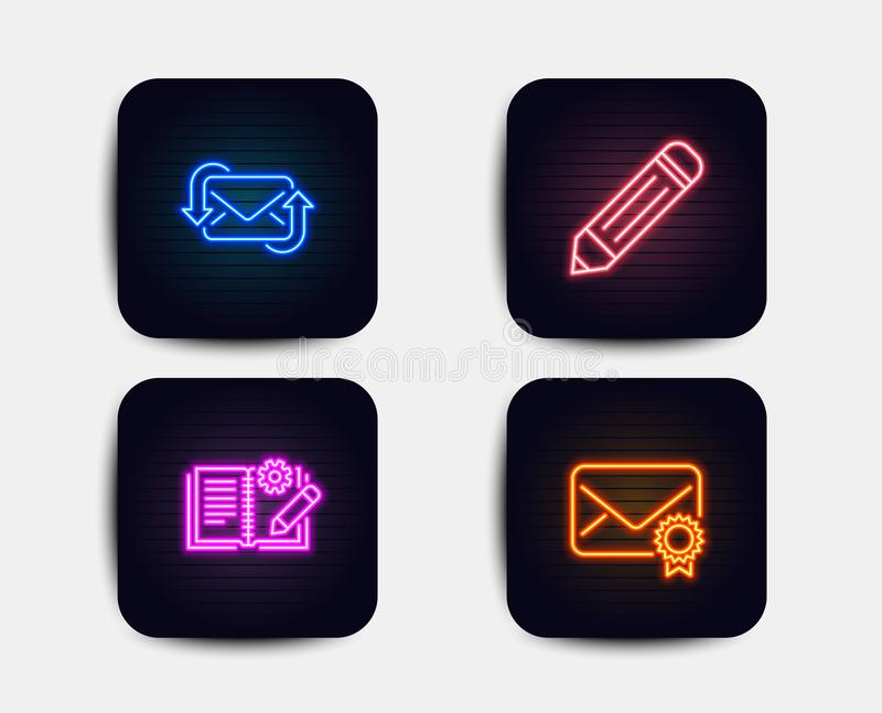 Refresh mail, Engineering documentation and Pencil icons. Verified mail sign. New e-mail, Manual, Edit data. Vector. Neon glow lights. Set of Refresh mail stock illustration