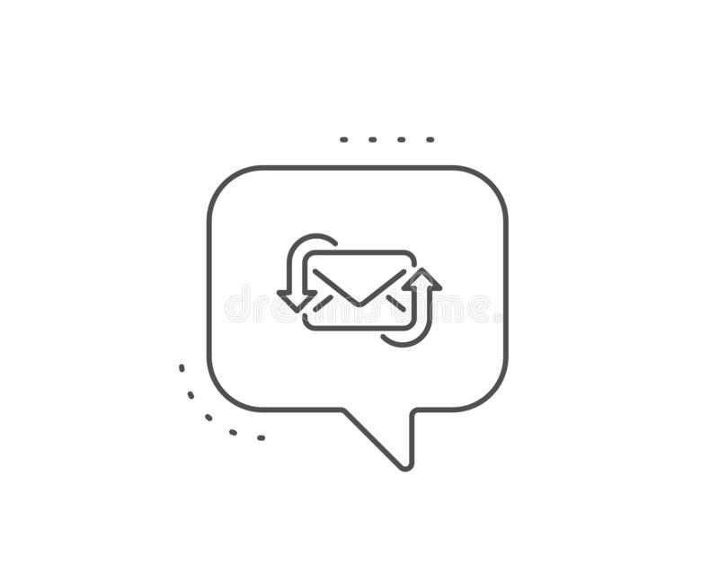 Refresh Mail line icon. New Messages correspondence sign. Vector. Refresh Mail line icon. Chat bubble design. New Messages correspondence sign. E-mail symbol royalty free illustration