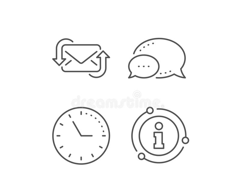 Refresh Mail line icon. New Messages correspondence sign. Vector. Refresh Mail line icon. Chat bubble, info sign elements. New Messages correspondence sign. E stock illustration