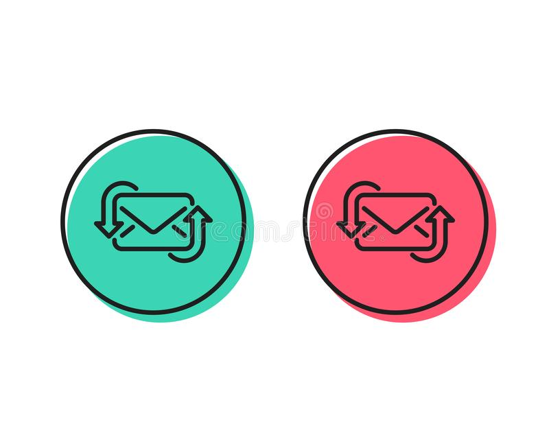 Refresh Mail line icon. New Messages correspondence sign. Vector. Refresh Mail line icon. New Messages correspondence sign. E-mail symbol. Positive and negative vector illustration