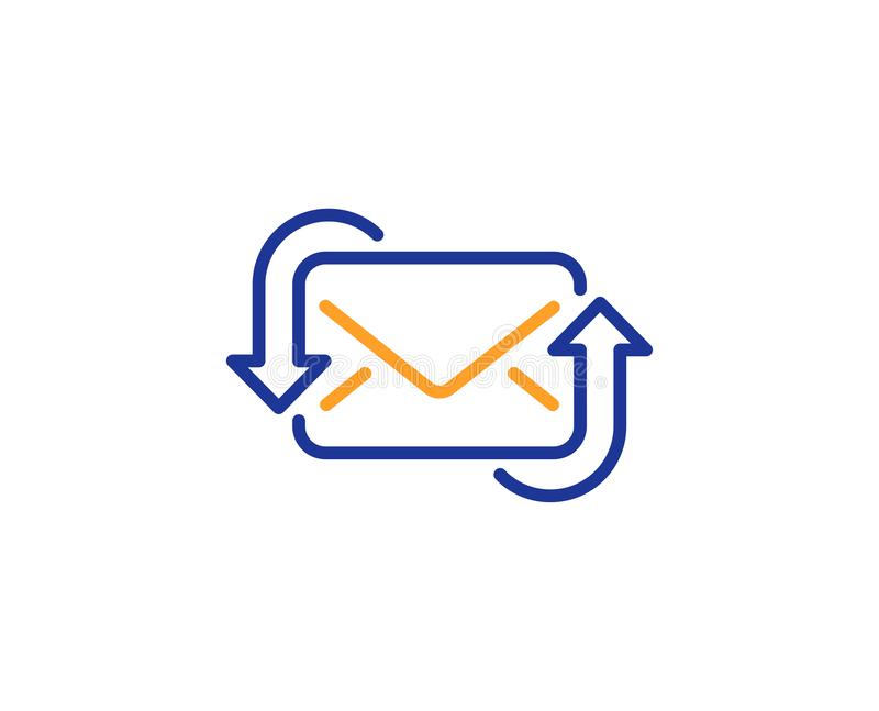 Refresh Mail line icon. New Messages correspondence sign. Vector. Refresh Mail line icon. New Messages correspondence sign. E-mail symbol. Colorful outline royalty free illustration