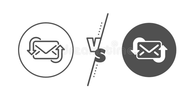 Refresh Mail line icon. New Messages correspondence sign. Vector. New Messages correspondence sign. Versus concept. Refresh Mail line icon. E-mail symbol. Line royalty free illustration