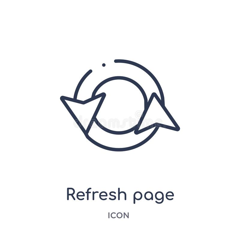 refresh page arrow button icon from user interface outline collection. Thin line refresh page arrow button icon isolated on white vector illustration