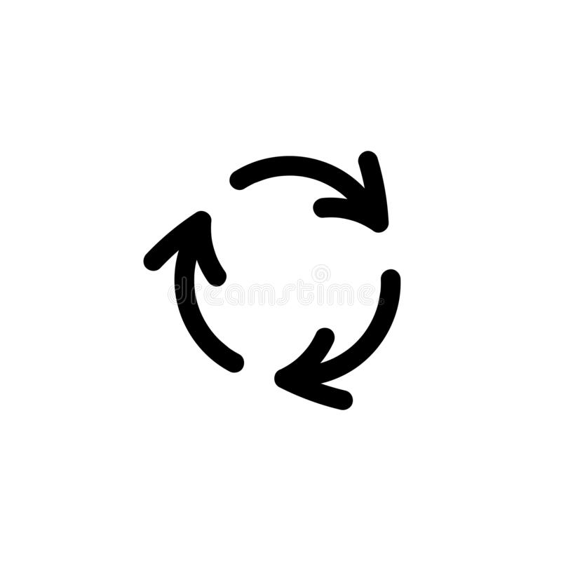 Refresh or reload icon. Three black hand drawn round rotation arrows isolated on white royalty free illustration