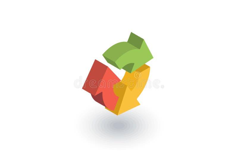 Refresh three arrow rotate isometric flat icon. 3d vector royalty free illustration