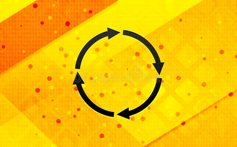Refresh update icon abstract digital banner yellow background. Refresh update icon isolated on abstract digital banner yellow background royalty free illustration