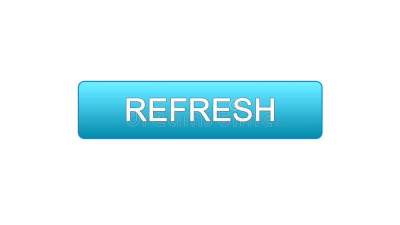 Refresh web interface button blue color, internet site design, innovation idea. Stock footage vector illustration