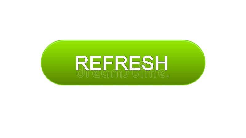 Refresh web interface button green color, internet site design, innovation idea. Stock footage vector illustration