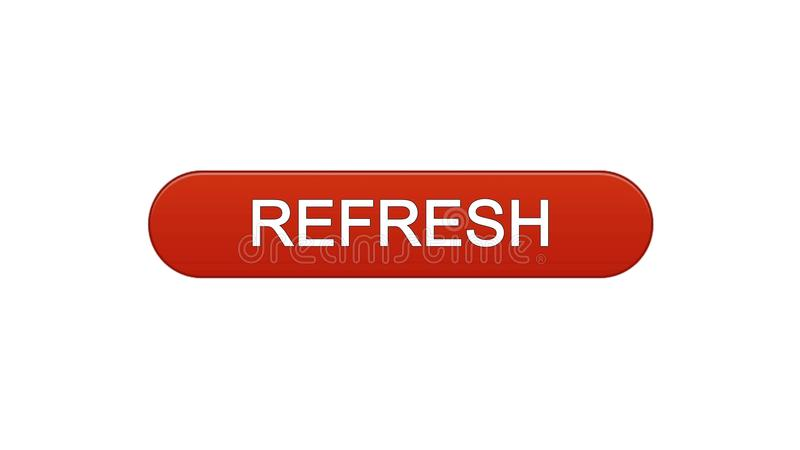 Refresh web interface button wine red, internet site design, innovation idea. Stock footage royalty free illustration