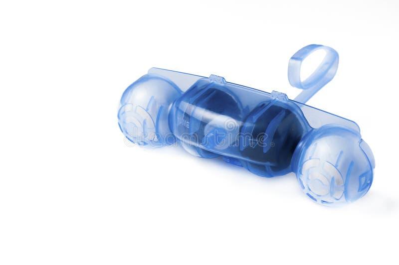 Refresher de suspensão azul do toalete isolado no bacground branco Refrogerador de ar, espaço da cópia foto de stock