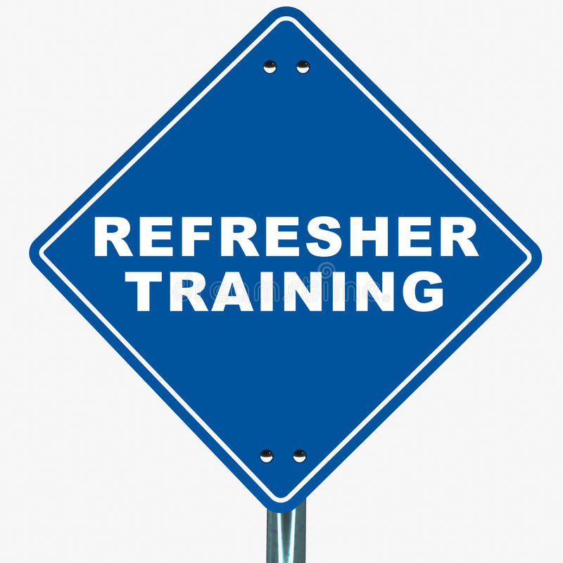 Refresher training. Banner on white background, blue road sign pointing to business or job training vector illustration