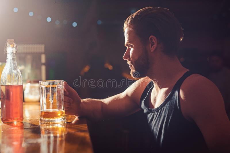 Refreshing beer to drink right now. Alcohol addiction and bad habit. Man drinker in pub. Handsome man drink beer at bar. Counter. Alcohol addict with beer mug stock photos