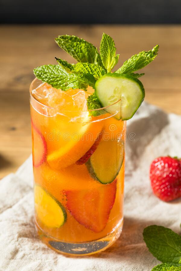 Refreshing Boozy PImms Cup Cocktail stock photo