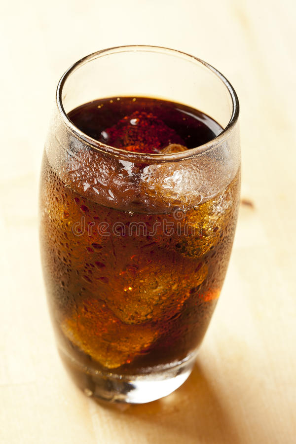 Refreshing Brown Soda with Ice stock images